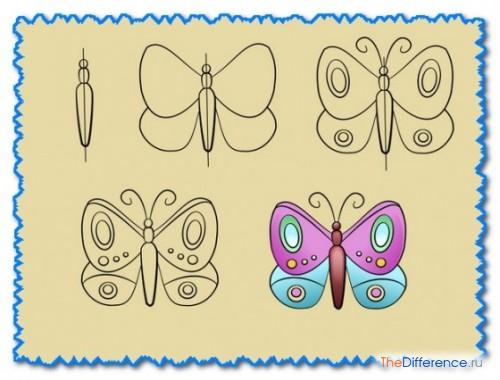 нарисовать симметричную бабочку