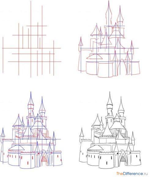 Процесс рисования замка
