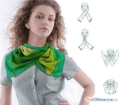 как красиво завязать маленький платок на шее