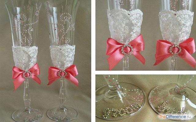 Чем украсить свадебные бокалы своими руками
