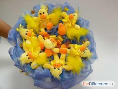 как сделать букет из мягких игрушек