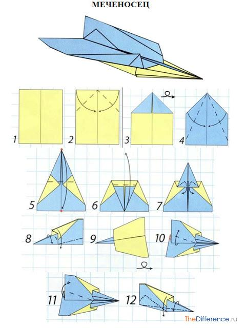 Оригами из бумаги схемы самолётов летающих