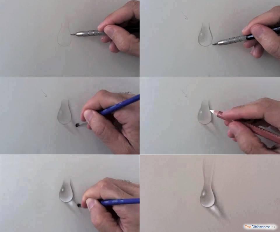 рисунок карандашом дождь:
