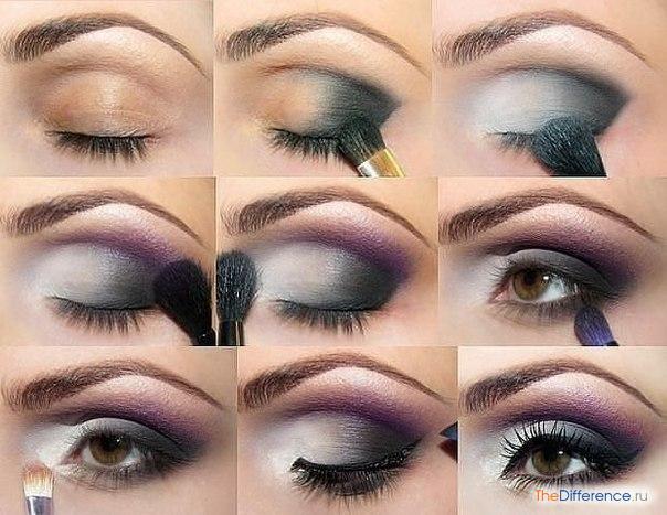 При выполнении макияжа глаз