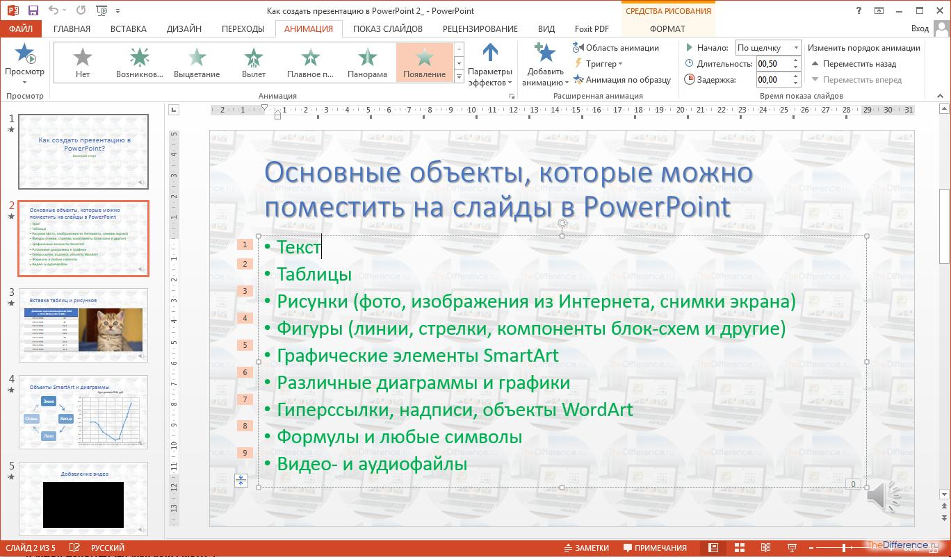 Как сделать появление текста в powerpoint