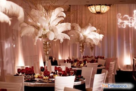 как украсить зал на свадьбу фото