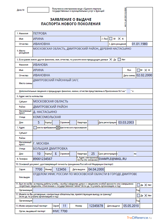 Пример заполнения Анкеты для Загранпаспорта