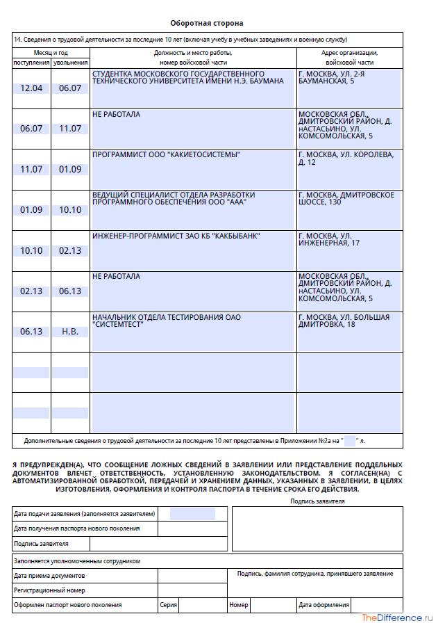 Анкета для Загранпаспорта образец заполнения