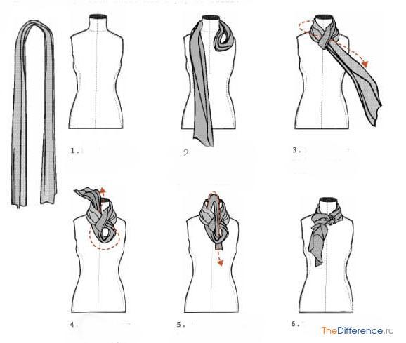как завязать шарф под пальто