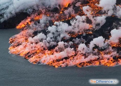 что выходит из вулкана при извержении