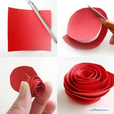 как делать розу из бумаги