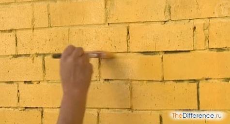 какой краской покрасить кирпичную стену