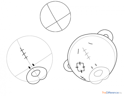 как нарисовать мишку Тедди с сердечком
