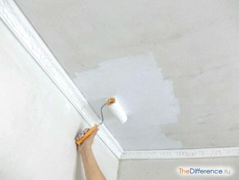 как покрасить потолок водоэмульсионкой