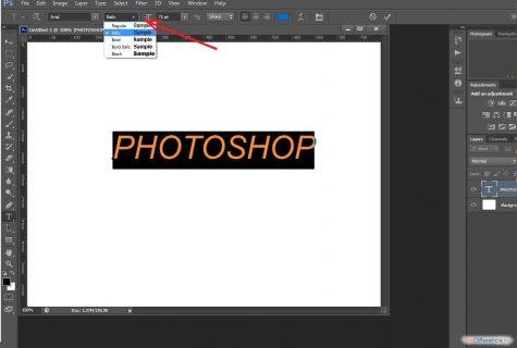 как наклонить текст в фотошопе