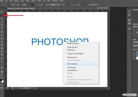 как наклонить текст в Photoshop