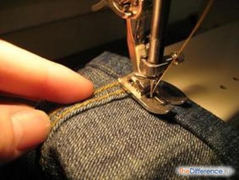 как подшить джинсы на машинке