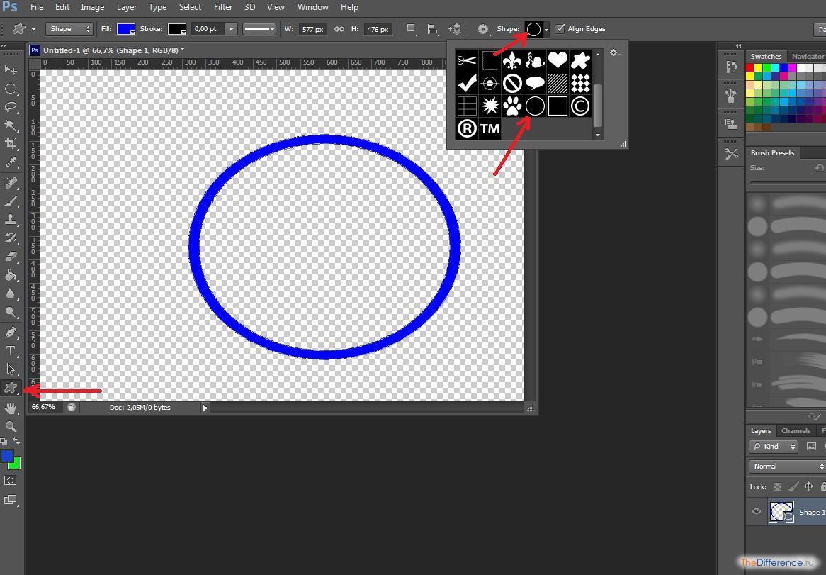 Как вшопе сделать круглую рамку на