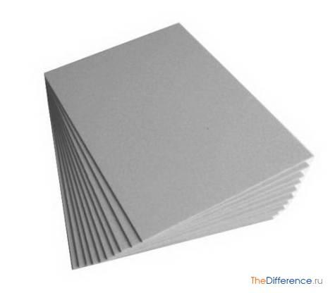отличие бумаги от картона