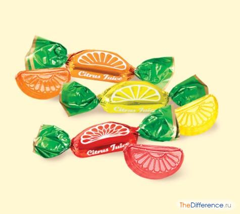отличие конфет от карамели