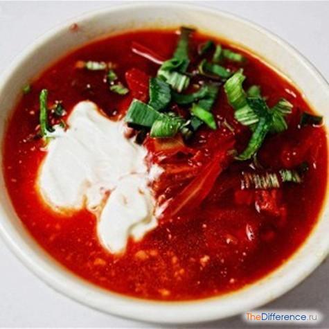 отличие супа от борща
